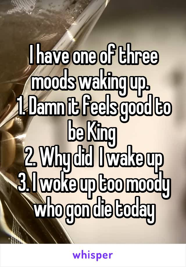 I have one of three moods waking up.   1. Damn it feels good to be King  2. Why did  I wake up 3. I woke up too moody who gon die today