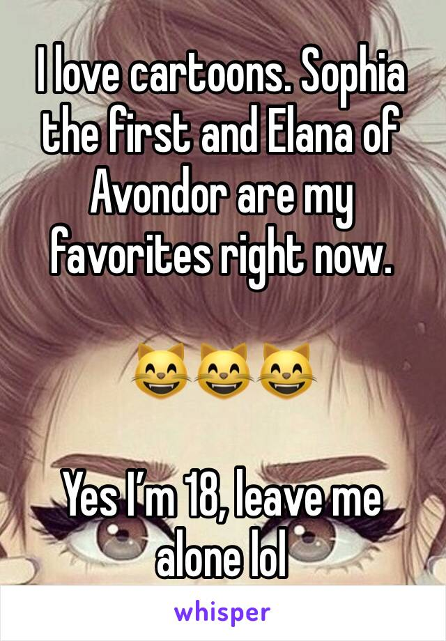 I love cartoons. Sophia the first and Elana of Avondor are my favorites right now.   😸😸😸  Yes I'm 18, leave me alone lol