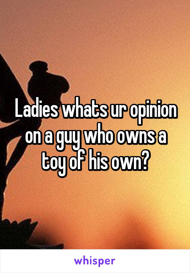 Ladies whats ur opinion on a guy who owns a toy of his own?