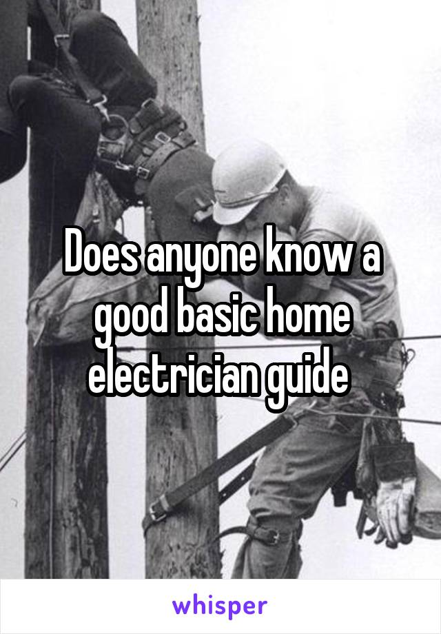 Does anyone know a good basic home electrician guide