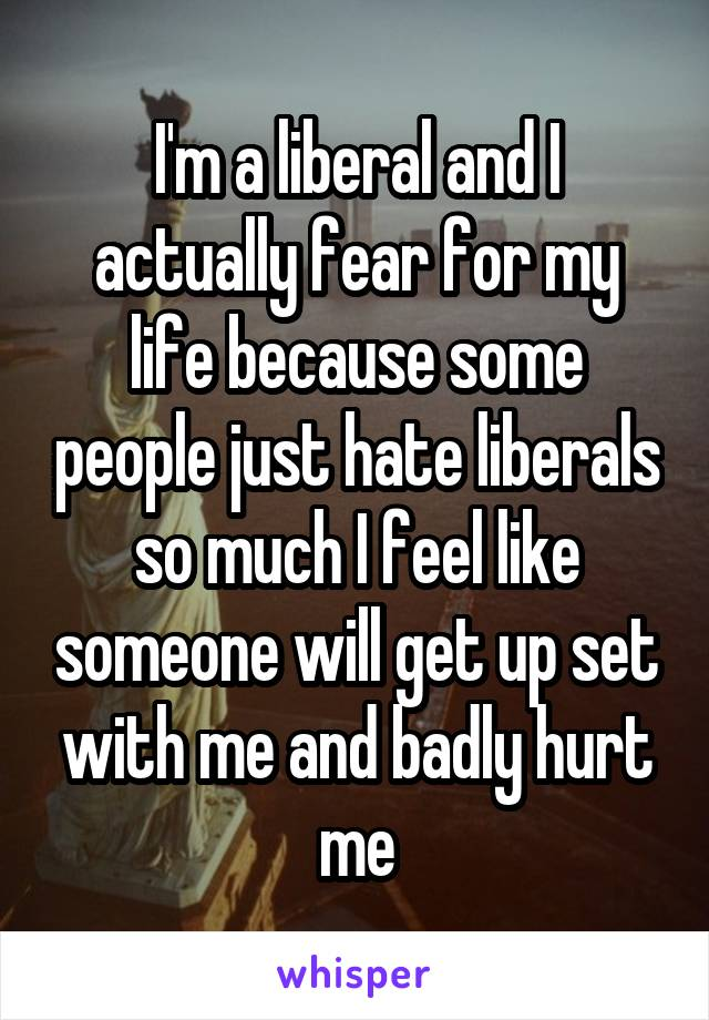 I'm a liberal and I actually fear for my life because some people just hate liberals so much I feel like someone will get up set with me and badly hurt me