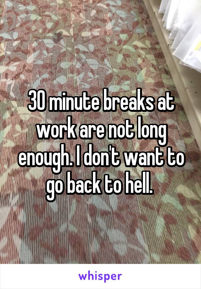 30 minute breaks at work are not long enough. I don't want to go back to hell.