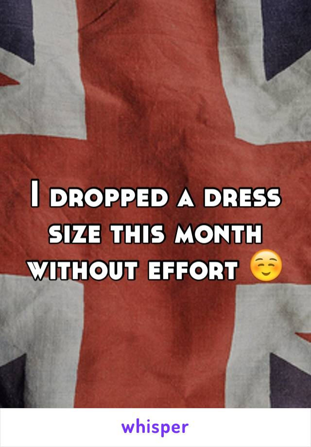 I dropped a dress size this month without effort ☺️