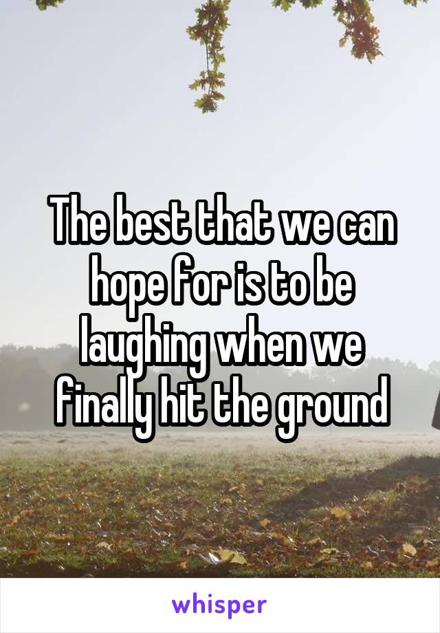 The best that we can hope for is to be laughing when we finally hit the ground