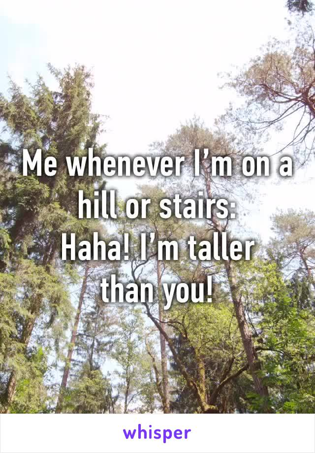 Me whenever I'm on a hill or stairs: Haha! I'm taller than you!