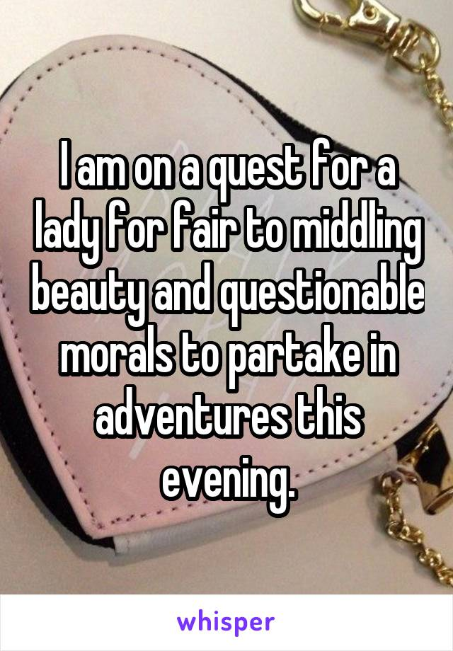 I am on a quest for a lady for fair to middling beauty and questionable morals to partake in adventures this evening.