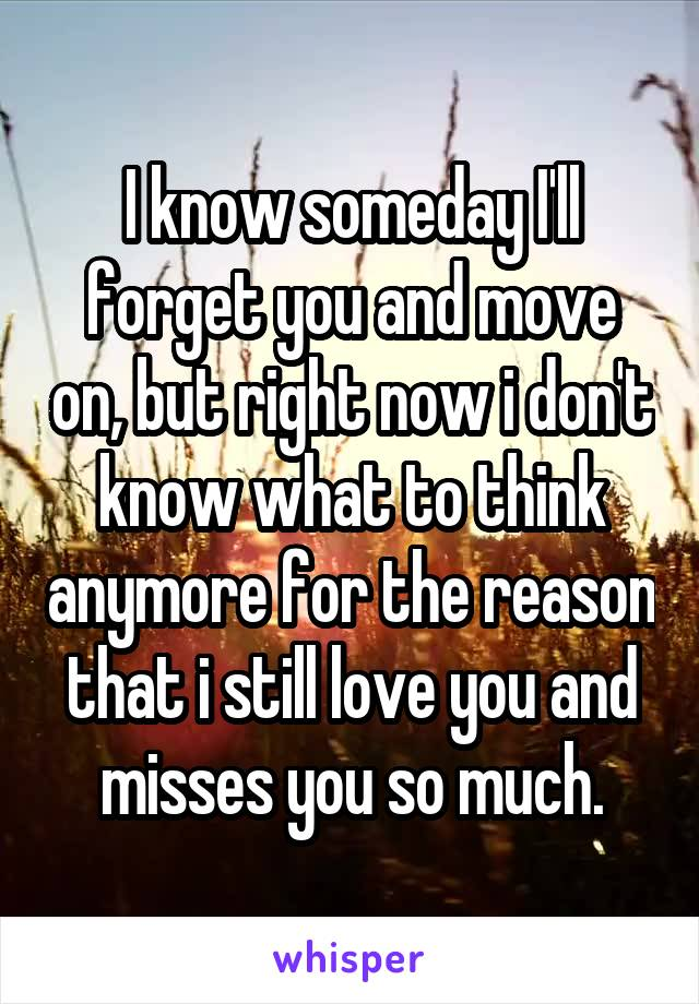 I know someday I'll forget you and move on, but right now i don't know what to think anymore for the reason that i still love you and misses you so much.