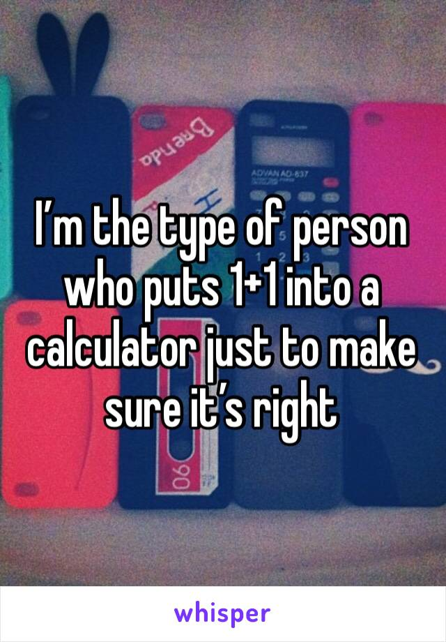 I'm the type of person who puts 1+1 into a calculator just to make sure it's right