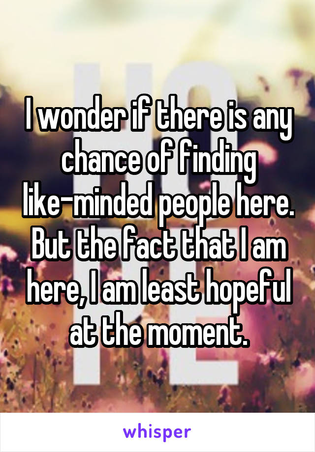 I wonder if there is any chance of finding like-minded people here. But the fact that I am here, I am least hopeful at the moment.