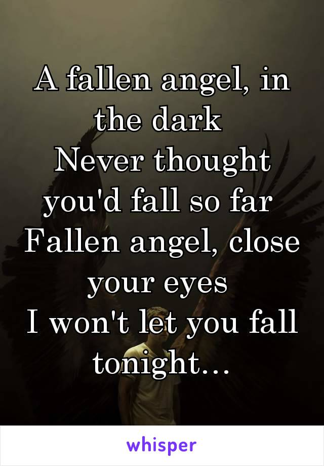 A fallen angel, in the dark  Never thought you'd fall so far  Fallen angel, close your eyes  I won't let you fall tonight…
