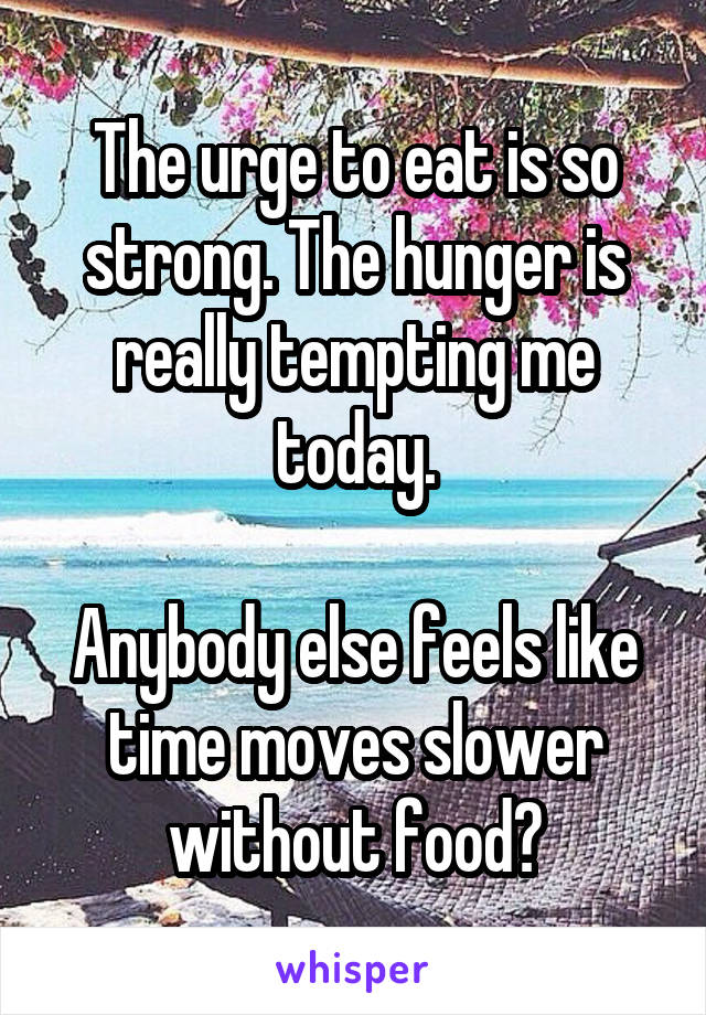 The urge to eat is so strong. The hunger is really tempting me today.  Anybody else feels like time moves slower without food?