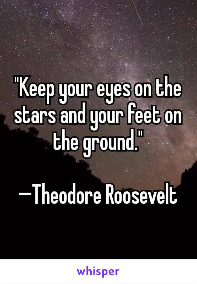 """""""Keep your eyes on the stars and your feet on the ground.""""  —Theodore Roosevelt"""
