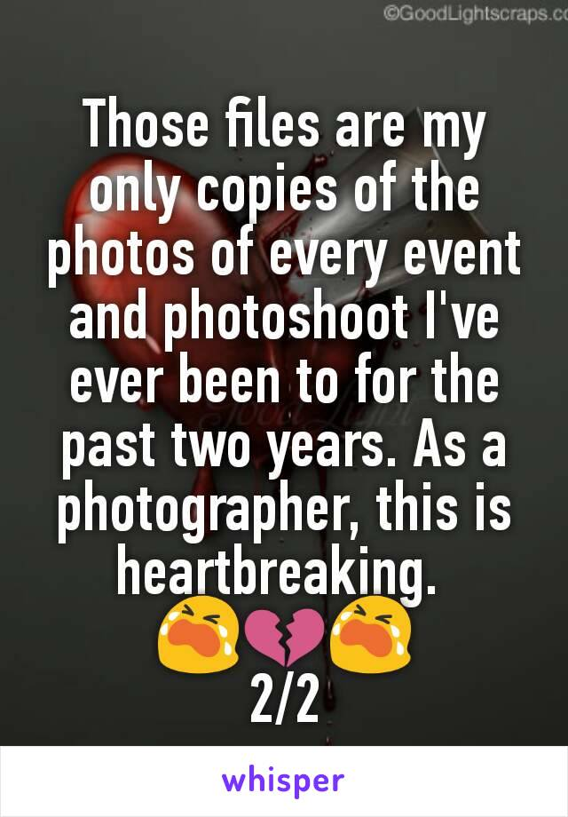 Those files are my only copies of the photos of every event and photoshoot I've ever been to for the past two years. As a photographer, this is heartbreaking.  😭💔😭 2/2