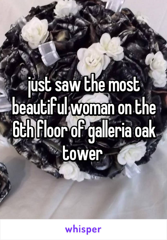 just saw the most beautiful woman on the 6th floor of galleria oak tower