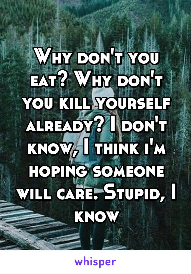 Why don't you eat? Why don't you kill yourself already? I don't know, I think i'm hoping someone will care. Stupid, I know
