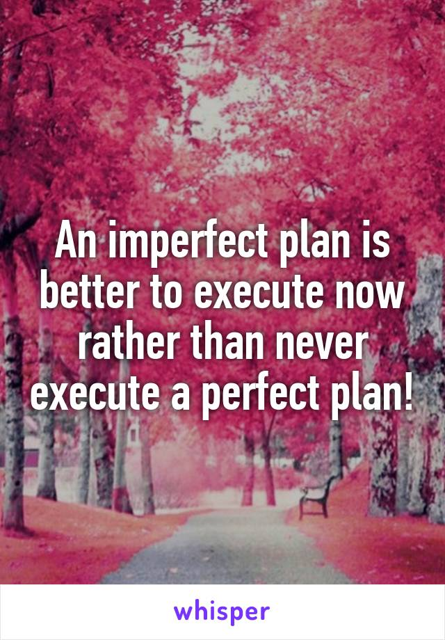 An imperfect plan is better to execute now rather than never execute a perfect plan!