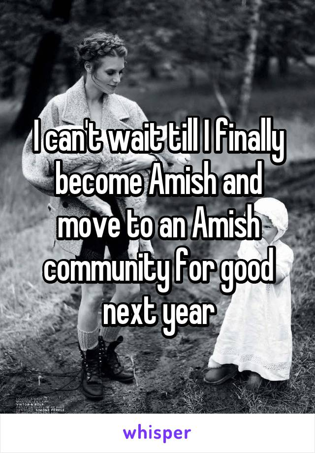I can't wait till I finally become Amish and move to an Amish community for good next year