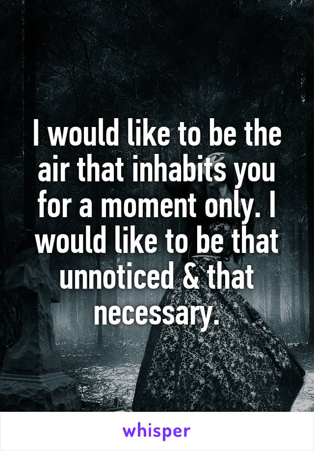 I would like to be the air that inhabits you for a moment only. I would like to be that unnoticed & that necessary.