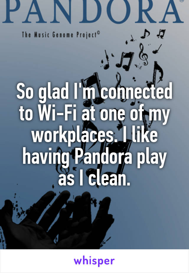 So glad I'm connected to Wi-Fi at one of my workplaces. I like having Pandora play as I clean.