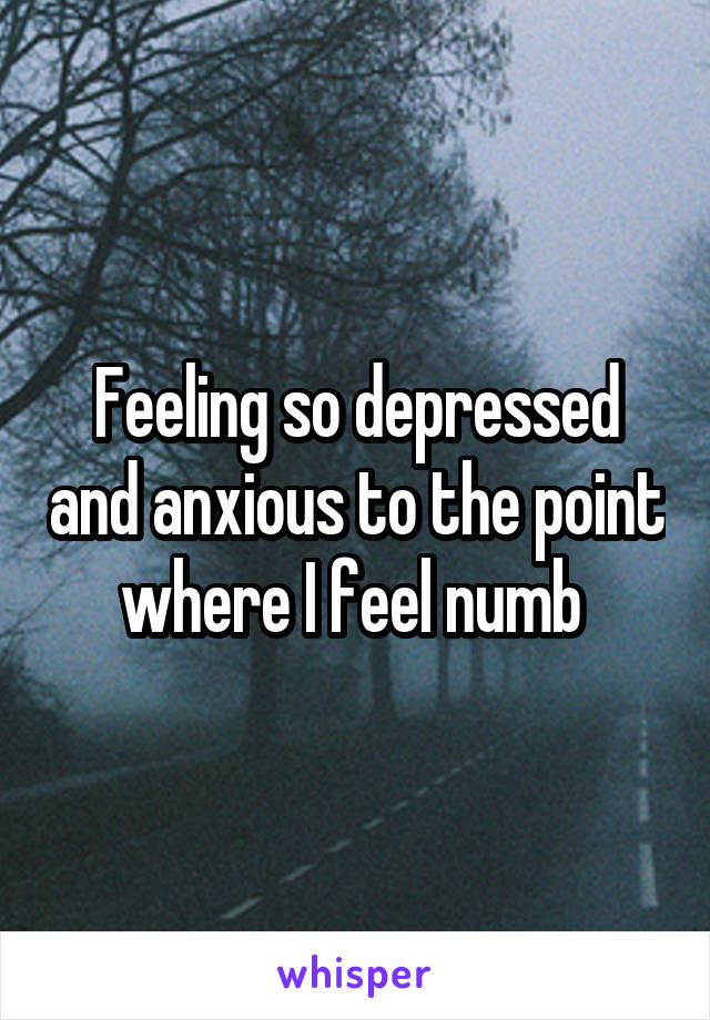 Feeling so depressed and anxious to the point where I feel numb