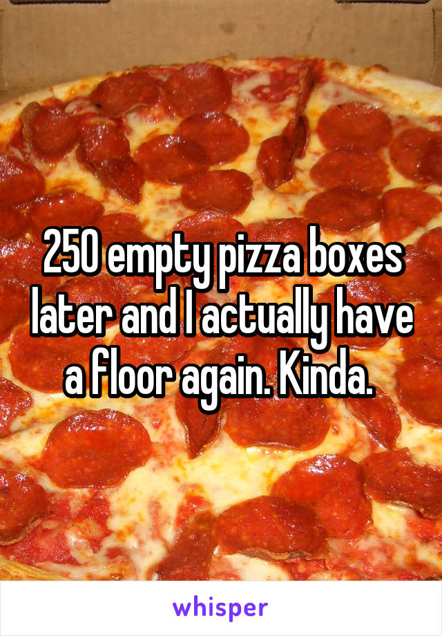 250 empty pizza boxes later and I actually have a floor again. Kinda.