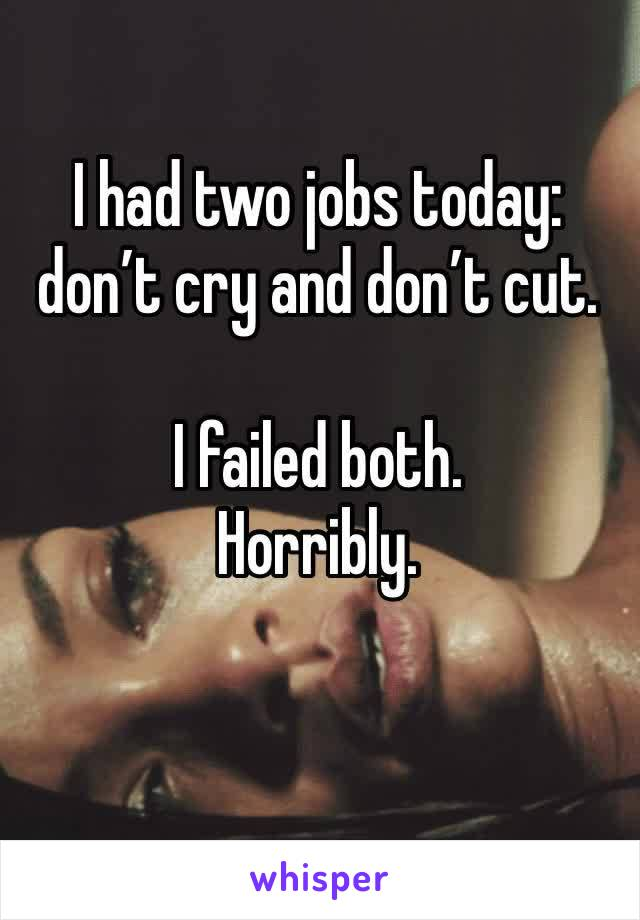 I had two jobs today: don't cry and don't cut.   I failed both.  Horribly.