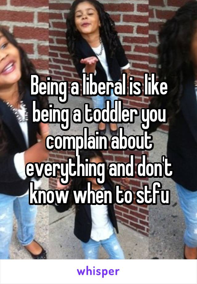 Being a liberal is like being a toddler you complain about everything and don't know when to stfu