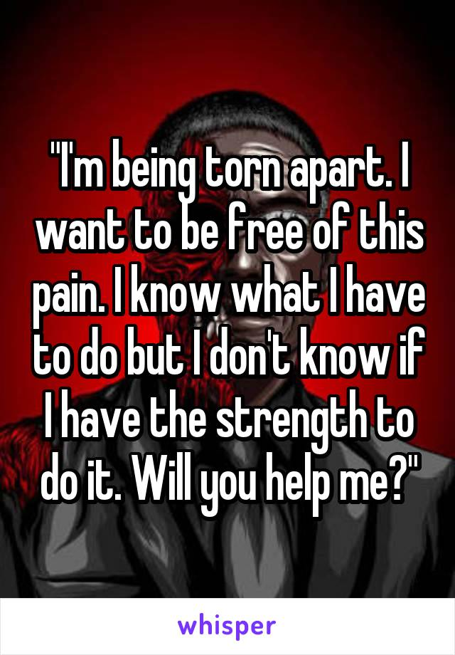 """""""I'm being torn apart. I want to be free of this pain. I know what I have to do but I don't know if I have the strength to do it. Will you help me?"""""""