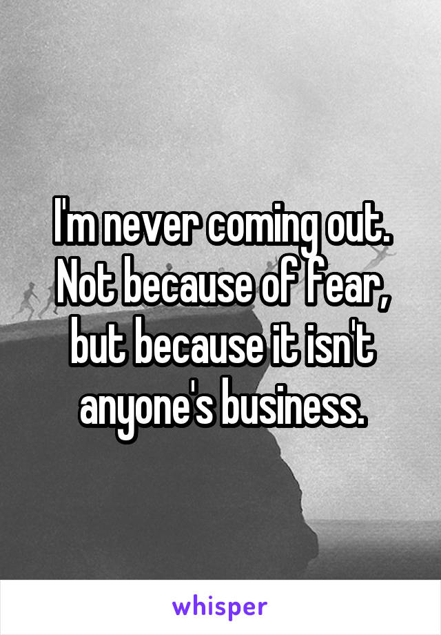I'm never coming out. Not because of fear, but because it isn't anyone's business.