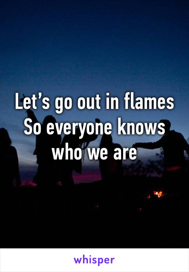 Let's go out in flames So everyone knows who we are