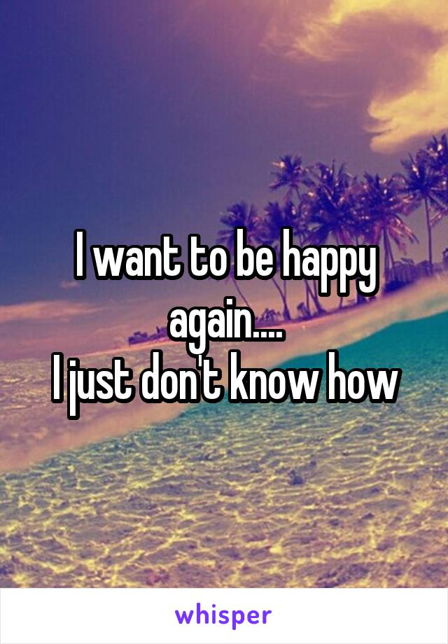 I want to be happy again.... I just don't know how