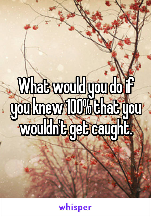 What would you do if you knew 100% that you wouldn't get caught.