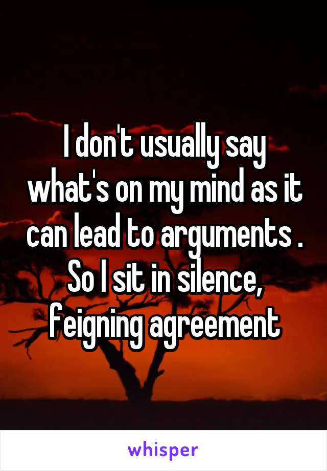 I don't usually say what's on my mind as it can lead to arguments . So I sit in silence, feigning agreement
