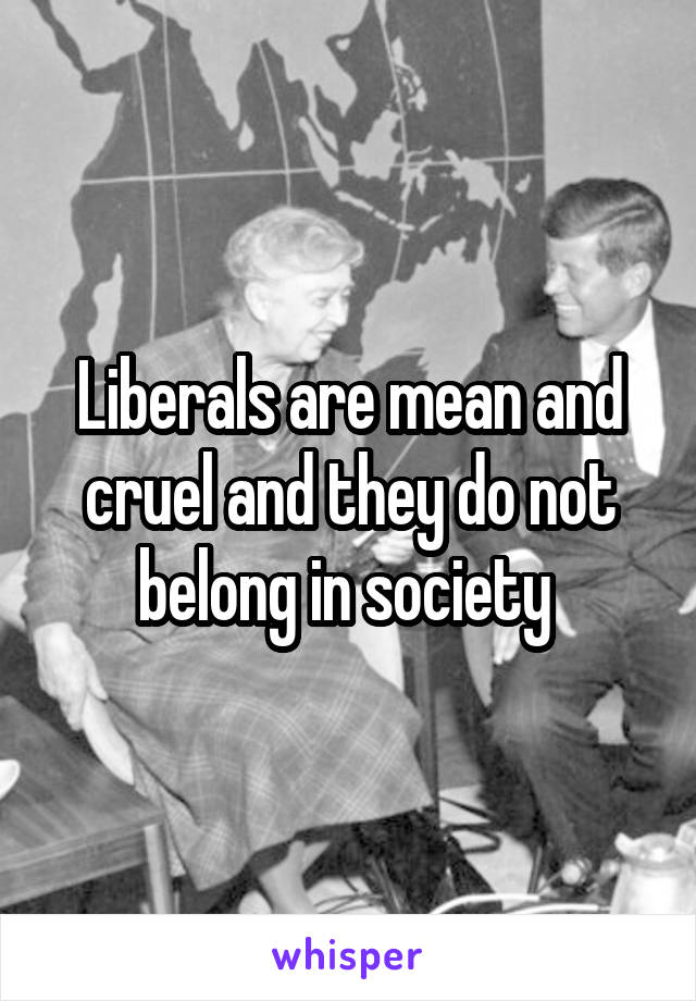 Liberals are mean and cruel and they do not belong in society