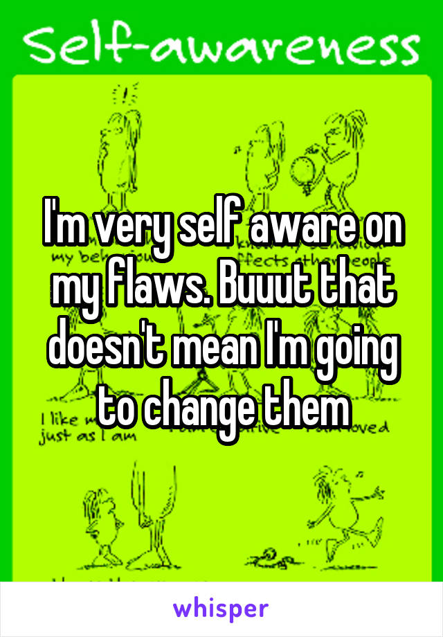 I'm very self aware on my flaws. Buuut that doesn't mean I'm going to change them
