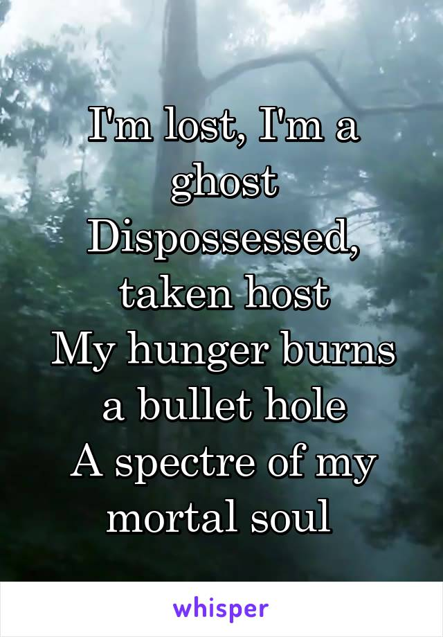 I'm lost, I'm a ghost Dispossessed, taken host My hunger burns a bullet hole A spectre of my mortal soul