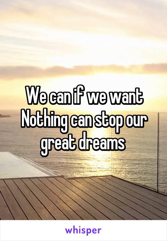 We can if we want Nothing can stop our great dreams