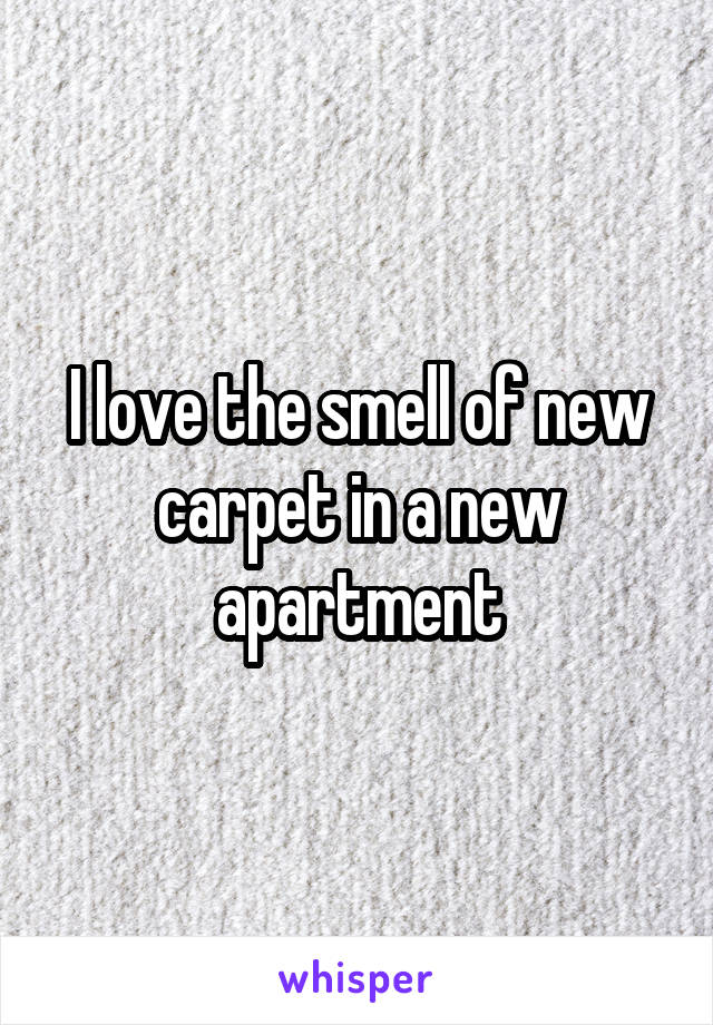 I love the smell of new carpet in a new apartment