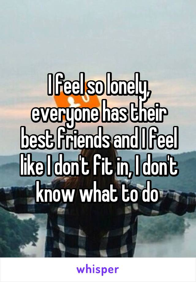 I feel so lonely, everyone has their best friends and I feel like I don't fit in, I don't know what to do