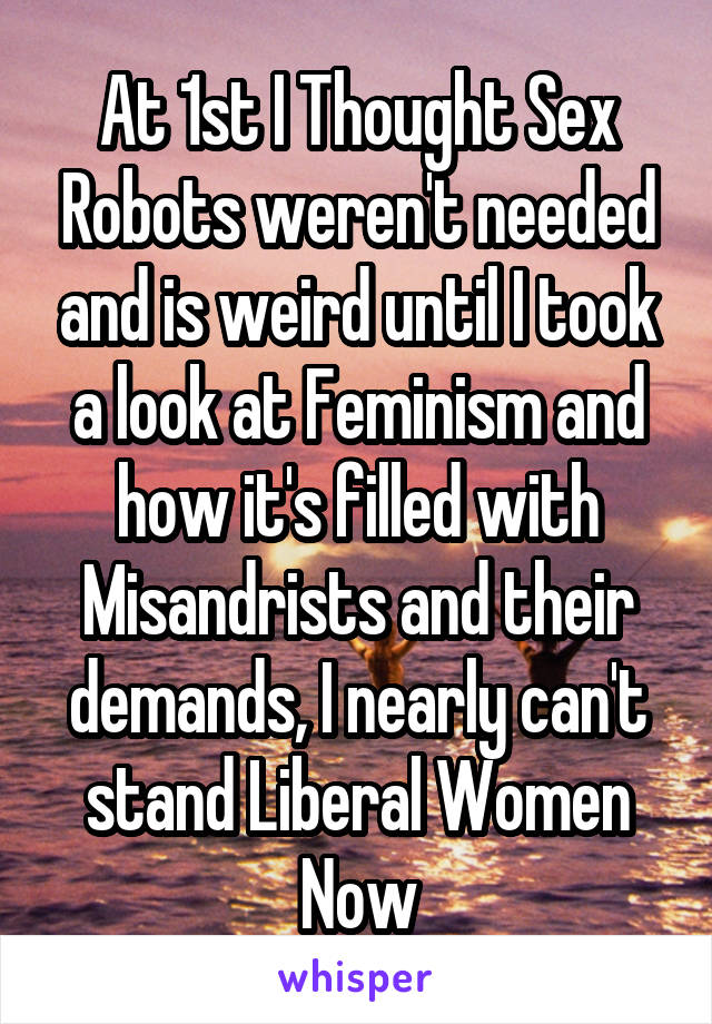 At 1st I Thought Sex Robots weren't needed and is weird until I took a look at Feminism and how it's filled with Misandrists and their demands, I nearly can't stand Liberal Women Now