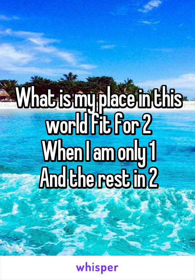 What is my place in this world fit for 2 When I am only 1 And the rest in 2