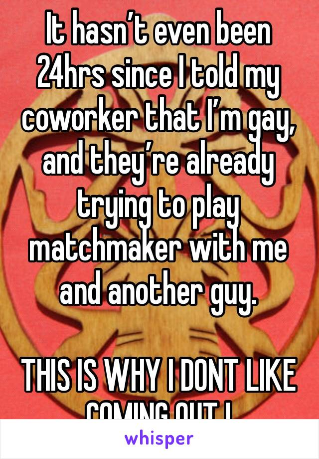 It hasn't even been 24hrs since I told my coworker that I'm gay, and they're already trying to play matchmaker with me and another guy.  THIS IS WHY I DONT LIKE COMING OUT !