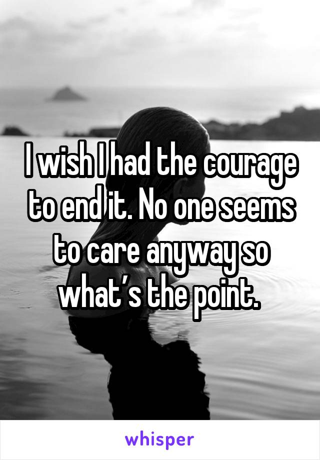 I wish I had the courage to end it. No one seems to care anyway so what's the point.
