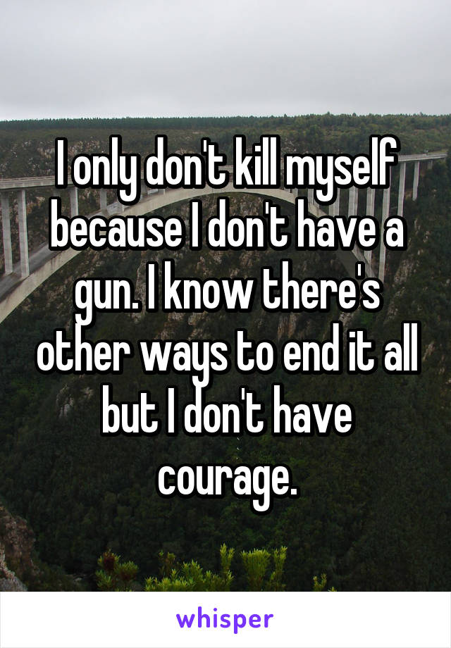 I only don't kill myself because I don't have a gun. I know there's other ways to end it all but I don't have courage.