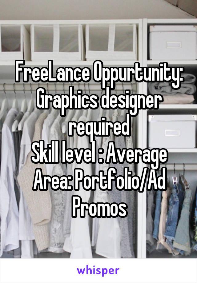 FreeLance Oppurtunity: Graphics designer required Skill level : Average Area: Portfolio/Ad Promos