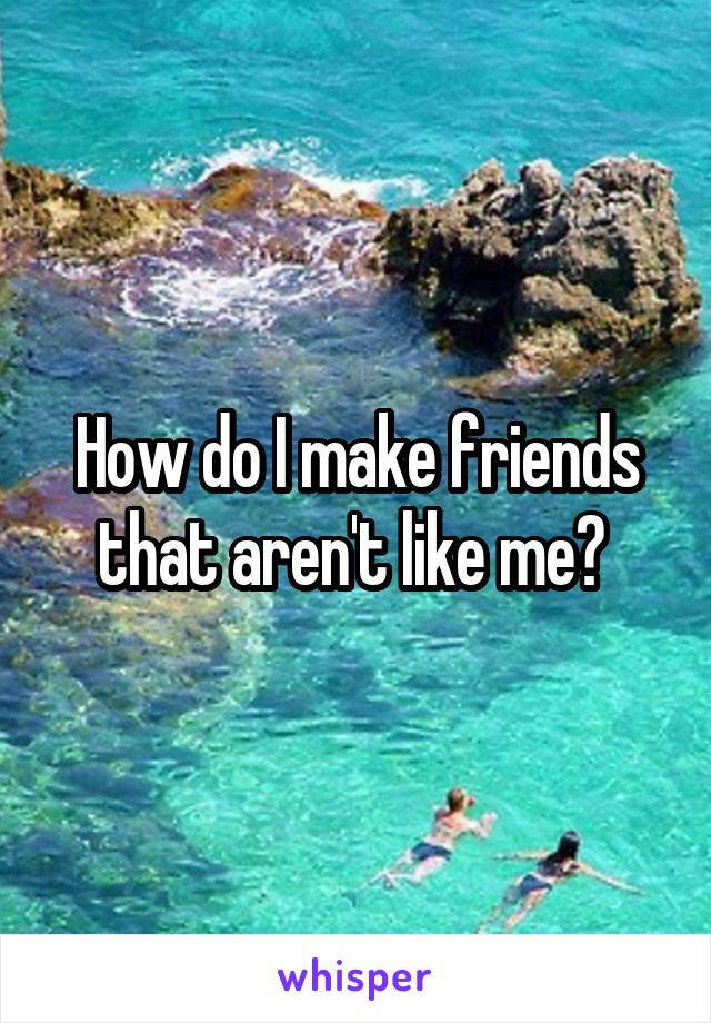 How do I make friends that aren't like me?