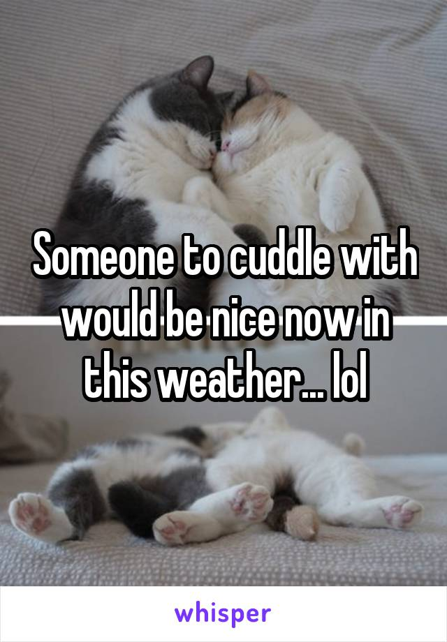 Someone to cuddle with would be nice now in this weather... lol