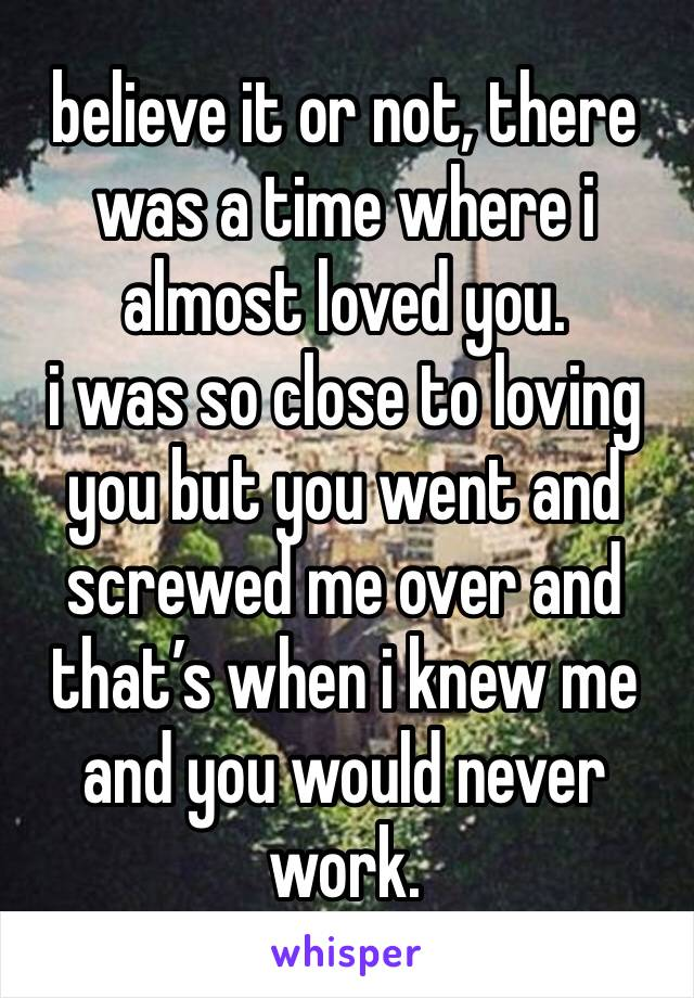 believe it or not, there was a time where i almost loved you.  i was so close to loving you but you went and screwed me over and that's when i knew me and you would never work.