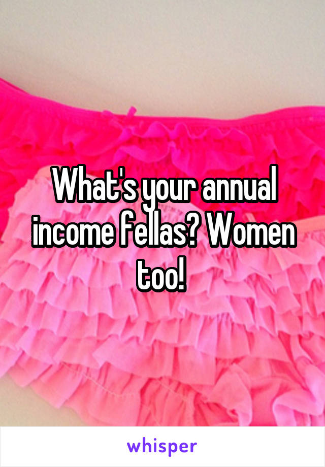 What's your annual income fellas? Women too!