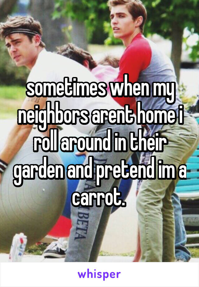 sometimes when my neighbors arent home i roll around in their garden and pretend im a carrot.